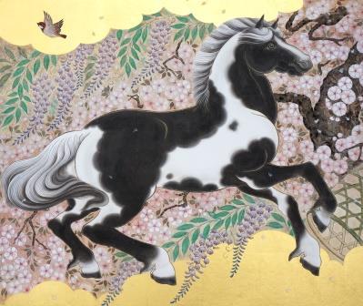 「青斑毛深春図」 F20号 紙本彩色・箔 2016年制作