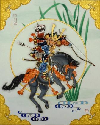 「一騎図 -菖蒲-」 F3号 紙本彩色・箔  2015年制作
