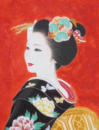 「奴島田」 F2号 紙本彩色 2012年制作