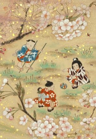 「桜東風」 P3号 紙本彩色・箔 2016年制作