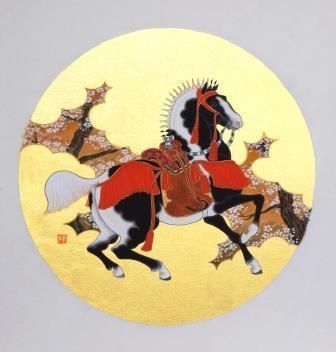 「青斑毛桜図」 円窓 直径280mm  紙本彩色・箔 2013年制作