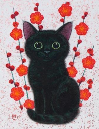 「黒猫に梅」  F0号  紙本彩色・色箔  2015年制作
