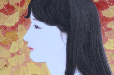 「錦秋」 P4号 紙本彩色・箔  2014年制作