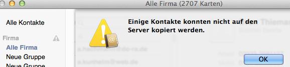 Bildschirmfoto: Einige Kontakte konnten nicht auf den Server kopiert werden.