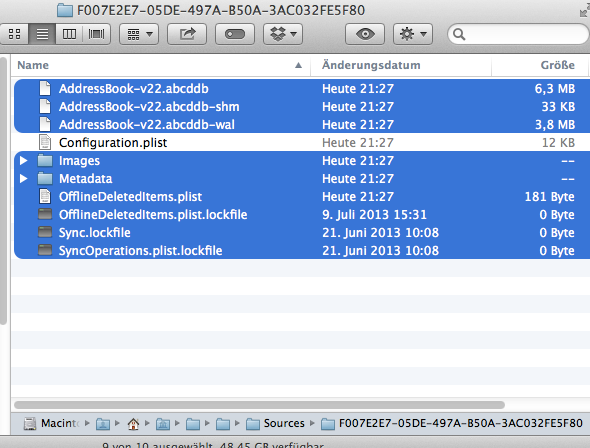 Zu löschende Dateien