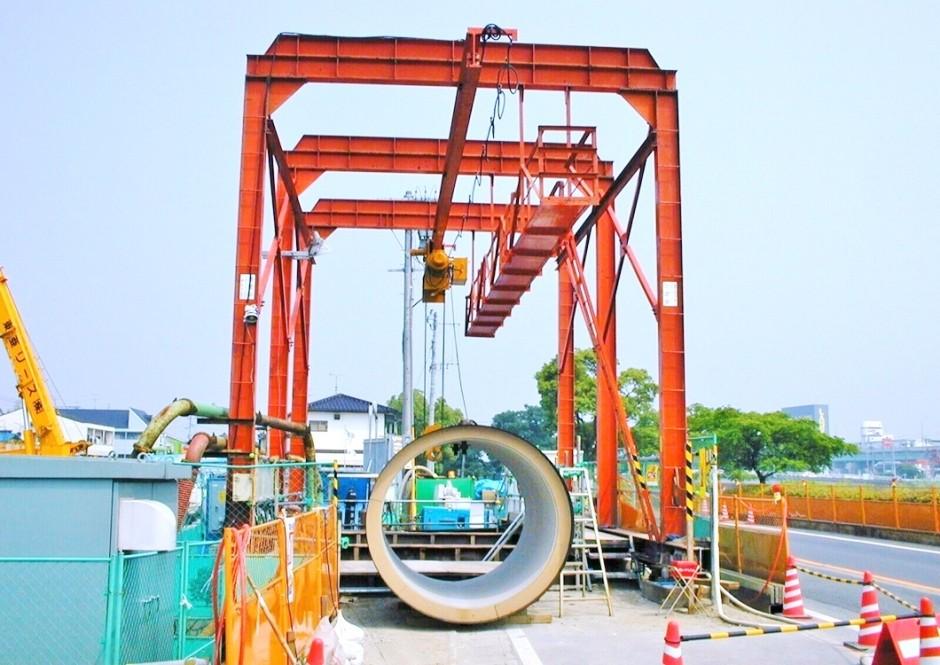 東田中建設 様 (多々良川・推進) テルハクレーン 10t 楊程20m