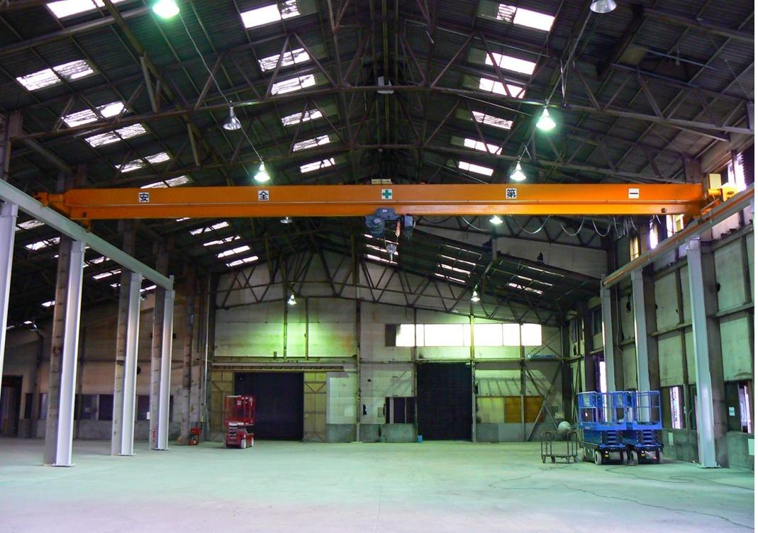 粕屋郡 オーバーヘッド形天井クレーン 2.8t × S16000 (ローヘッド・走行インバータ) ランウェイ工事含む