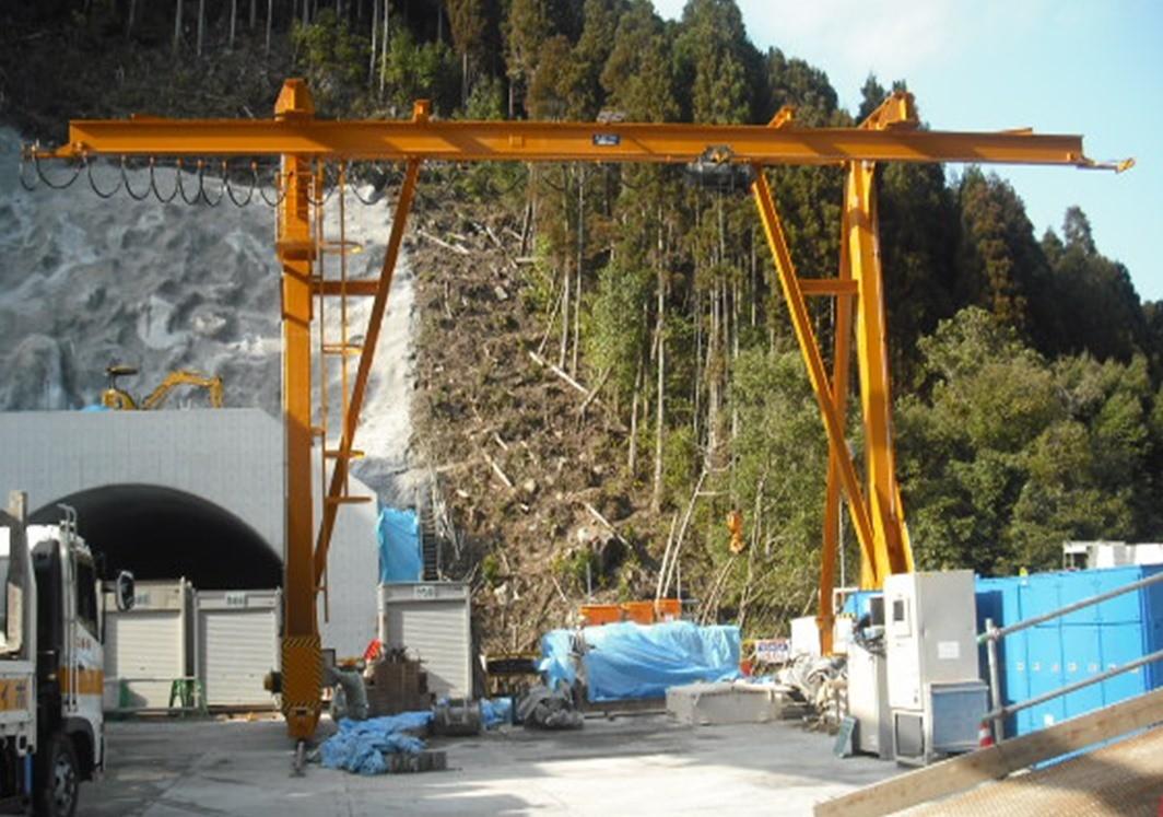 前田建設工業 様 (東九州道・猪八重トンネル) L型クレーン 2.8t × S9000 (両カンチ3000) × H7000