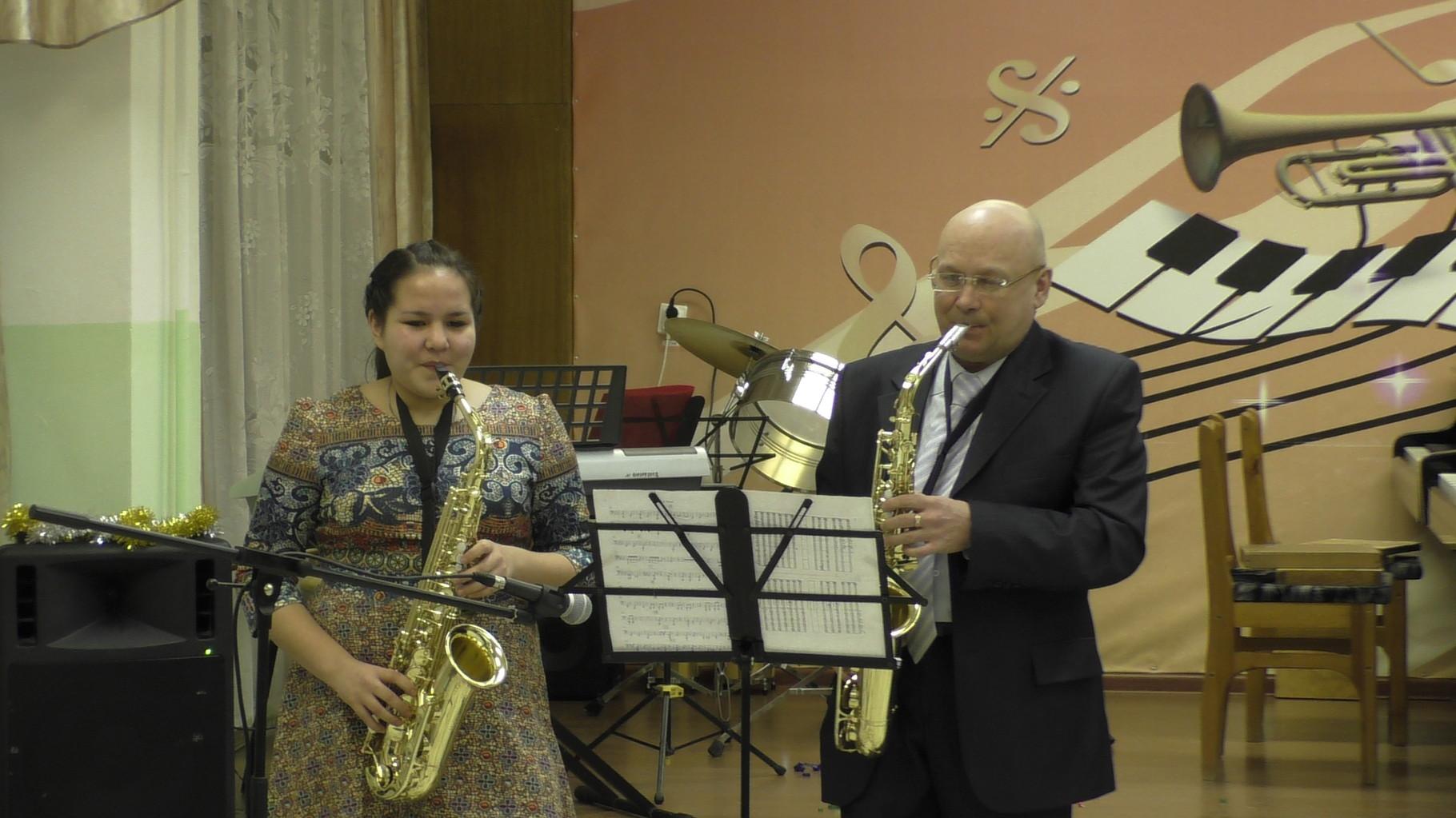 Дуэт саксофонистов: Кунакбаева Л. и Петухов С.В.