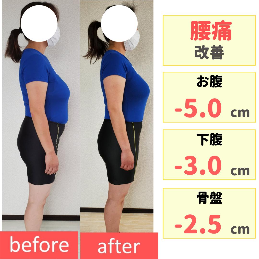 腰痛改善!お腹は薄くなりズボンはゆるゆるに♪