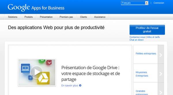 page d`accueil google apps