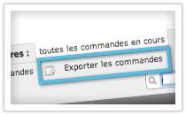export des commandes de l'eboutique