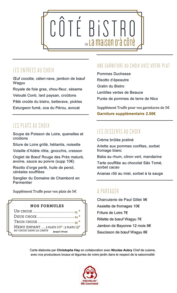 La carte d'ensemble et son menu à 32 € 00