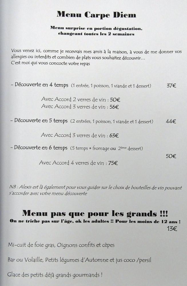 """Les menus """"Carpe Diem"""""""