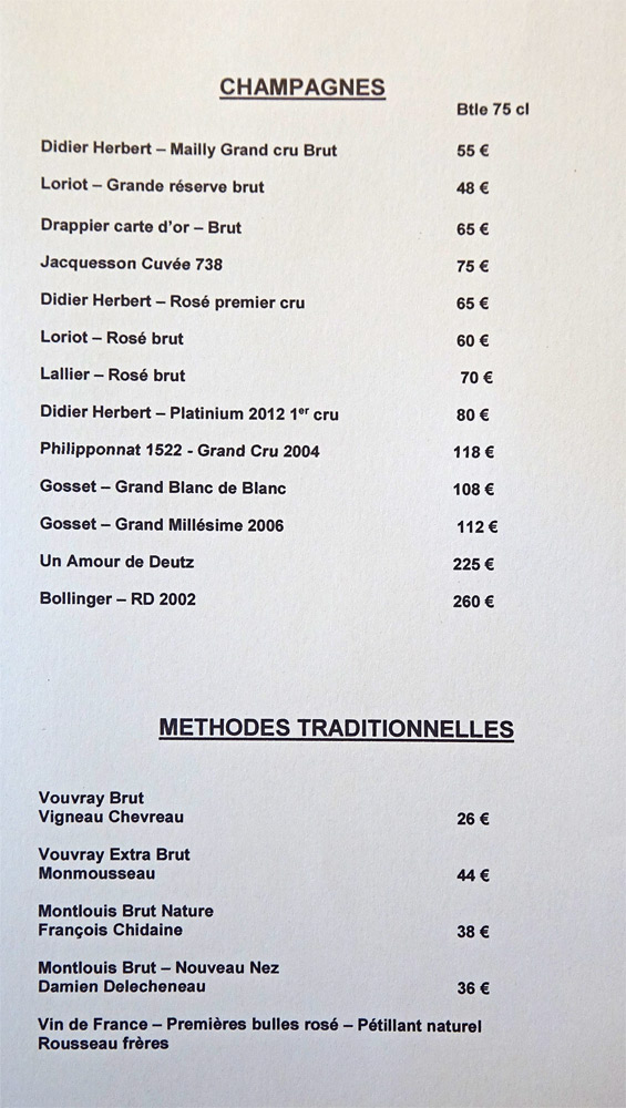 Carte des Champagnes et Méthodes traditionnelles