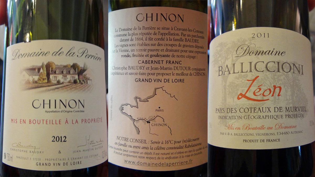 Les vins pour les deux entrées et la Basse-côte