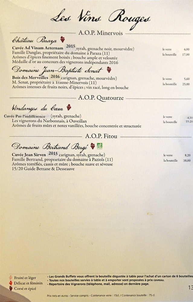 Vins rouges : AOP Minervois - AOP Quatourze - AOP Fitou