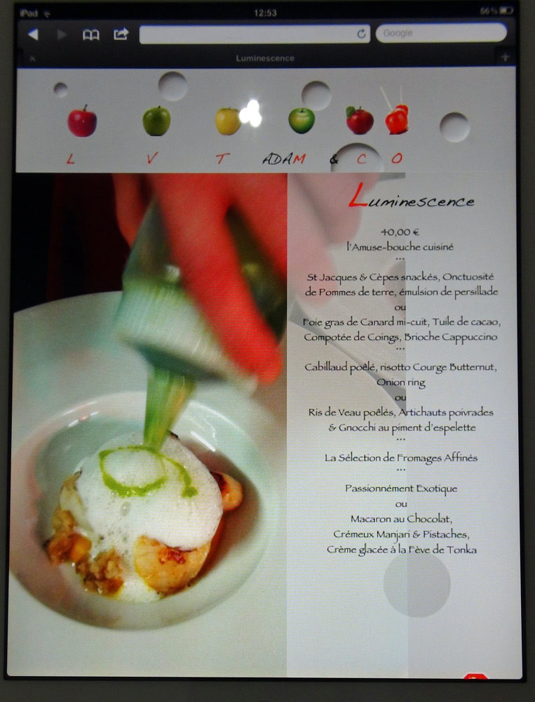 "Le menu ""Luminescence"""