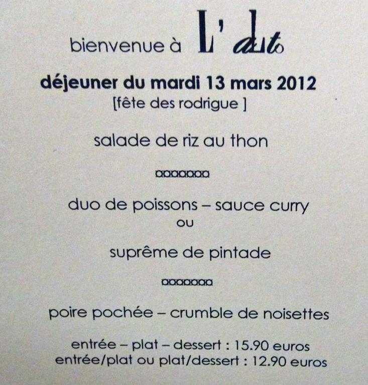 Premier menu