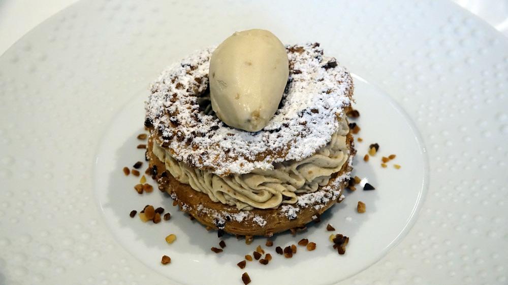 Paris-Brest, crème légère praliné, glace noisette