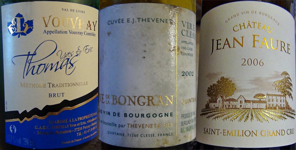 Les vins servis au cours du déjeuner