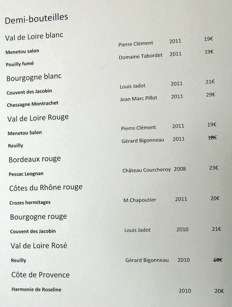 Carte des vins : Demi-bouteilles