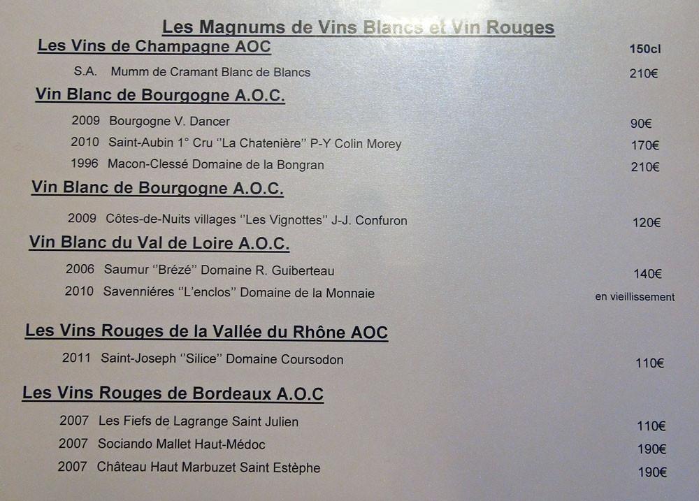 """Les Magnums de vins blancs et vin rouges """"sic"""""""