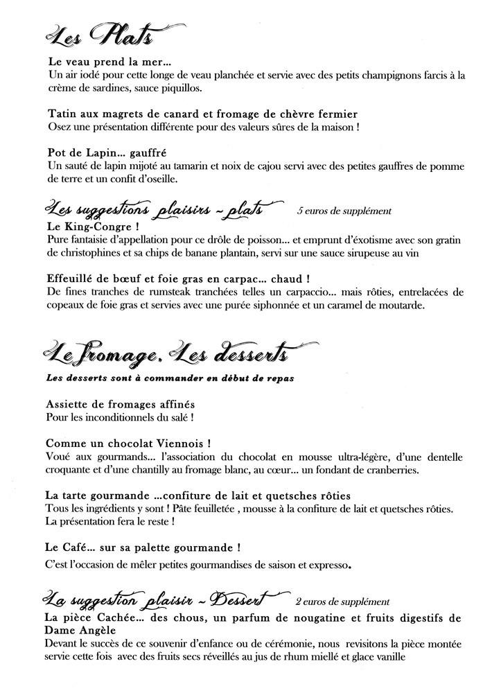 Le menu/carte (plats,   fromage & desserts)