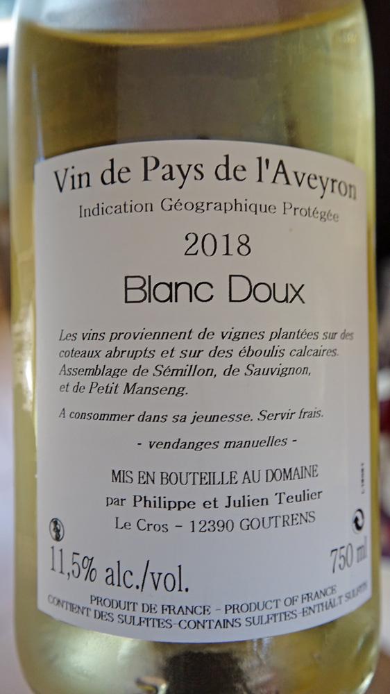 """Vin de Pays de l'Aveyron 2018 """"Blanc doux"""""""