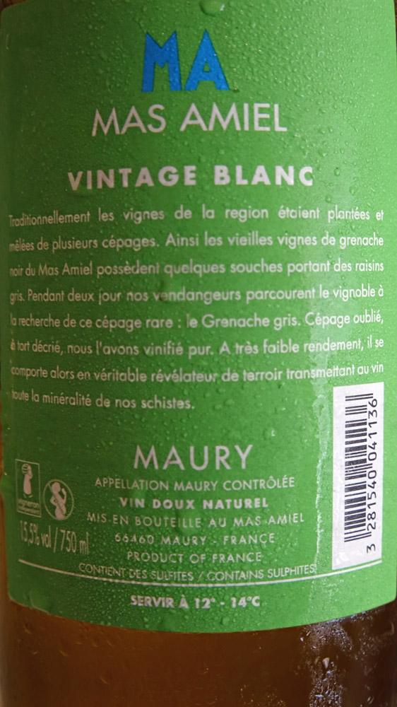 Maury Vintage blanc 2013 du Mas Amiel (verso)