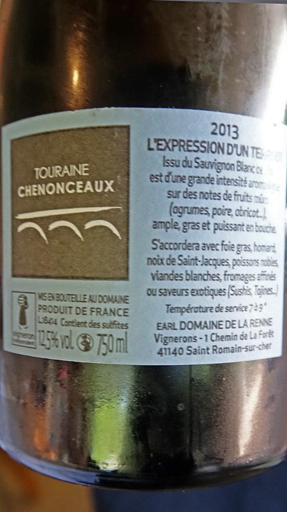 L'étiquette du vin blanc du repas