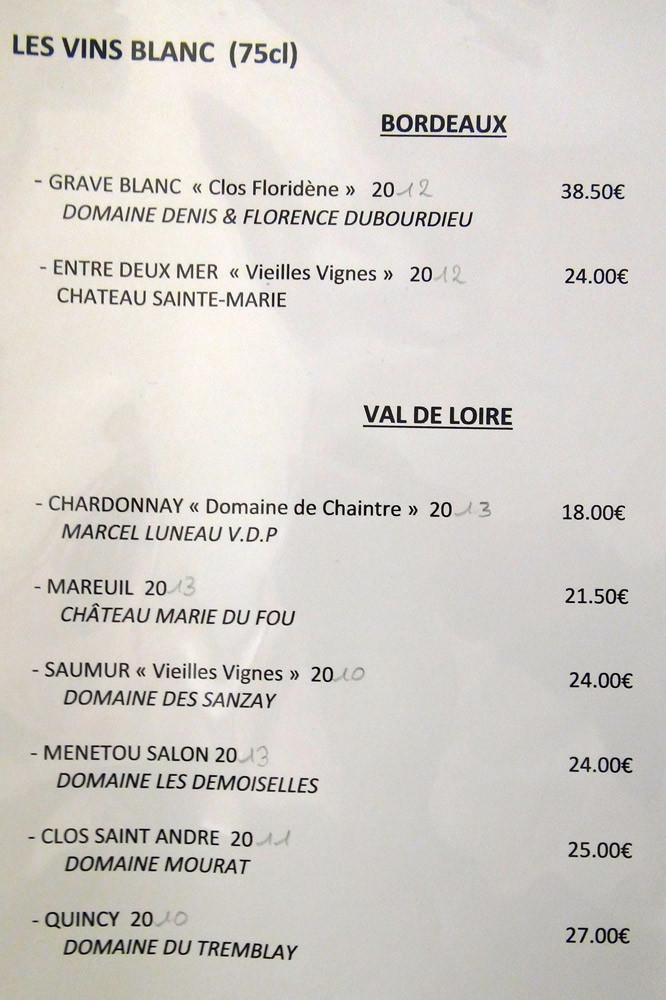 Vins blancs : Bordeaux & Val de Loire