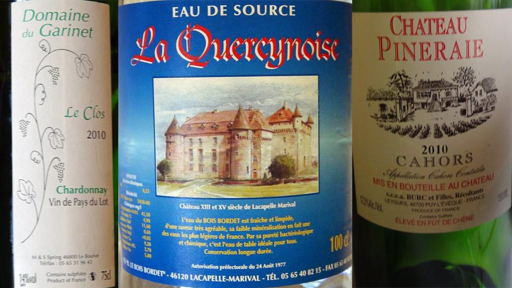 Vin blanc de pays du Lot, eau de source et Cahors Pineraie 2010