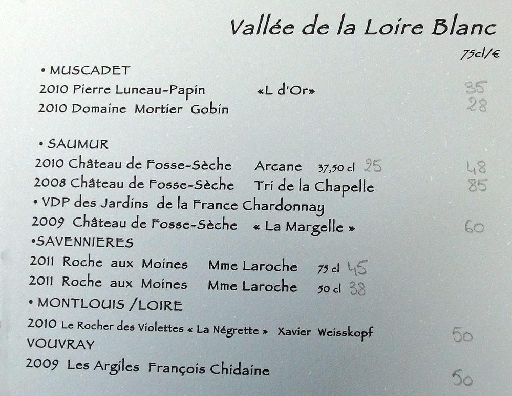 Vins de la Vallée de la Loire blancs
