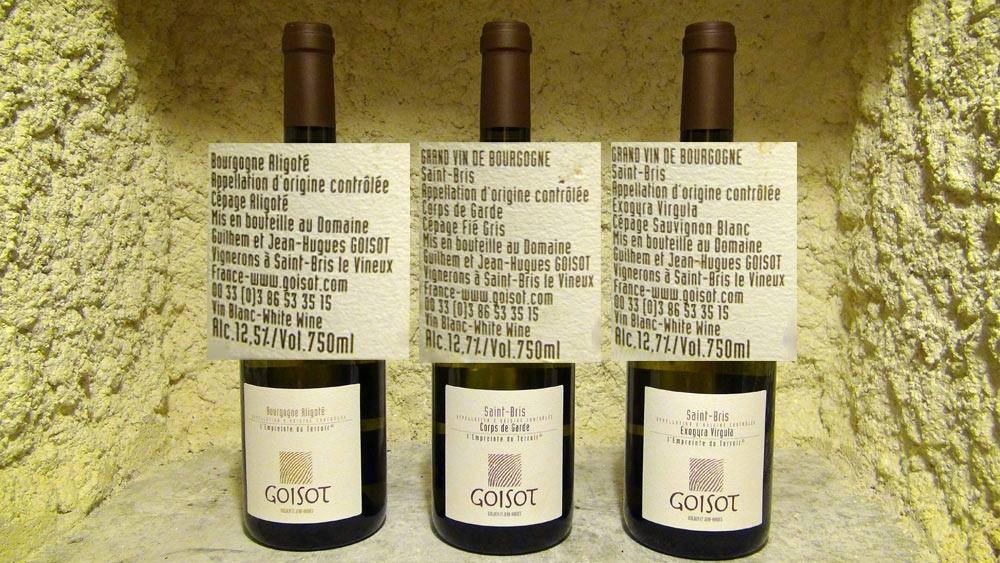 Bourgogne Aligoté 2012 - Saint-Bris 2011  Corps de Garde (Fié gris) - Saint-Bris 2011  Exogyra Virgula