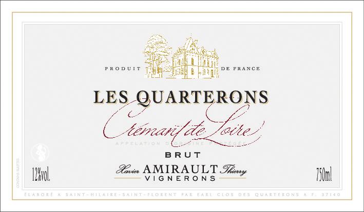 """Étiquette du Crémant de Loire """"Les Quarterons"""""""