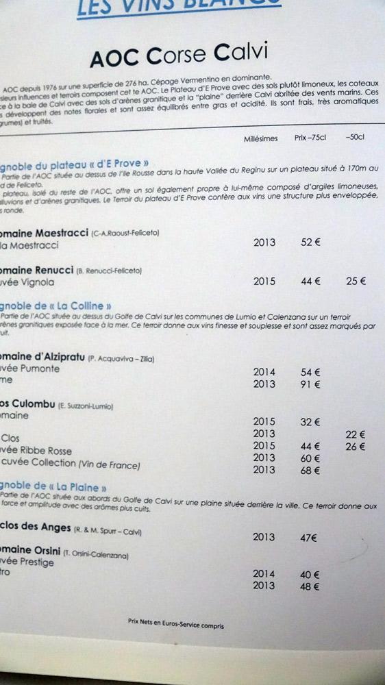 Vins blancs de Calvi