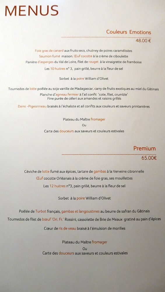Menus à 48 € 00 et 65 € 00