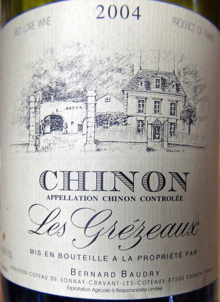 """Chinon """"Les Grézeaux"""" de Bernard Baudry 2004"""