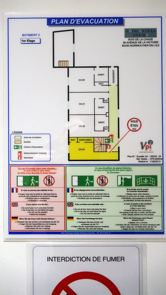 Le plan des chambres implantées dans le bâtiment annexe