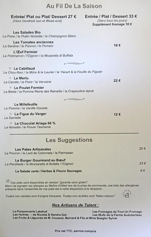 """Menu """"Bib gourmand"""" Au Fil de la Saison"""