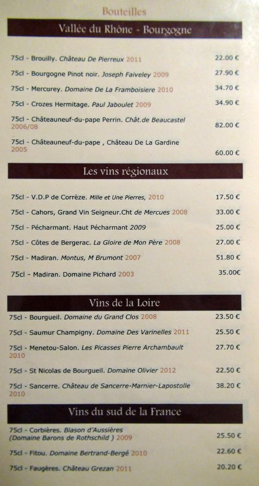 Carte des vins : Bourgogne, Régionaux, Loire & Sud de la France