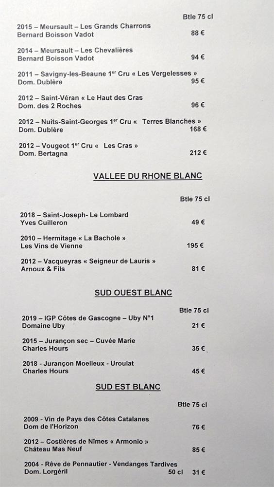 Vins blancs : Vallée du Rhône - Sud -Est - Sud-Ouest