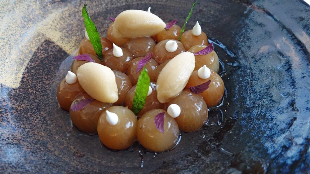 Raisins en gelée de verveine, sorbet