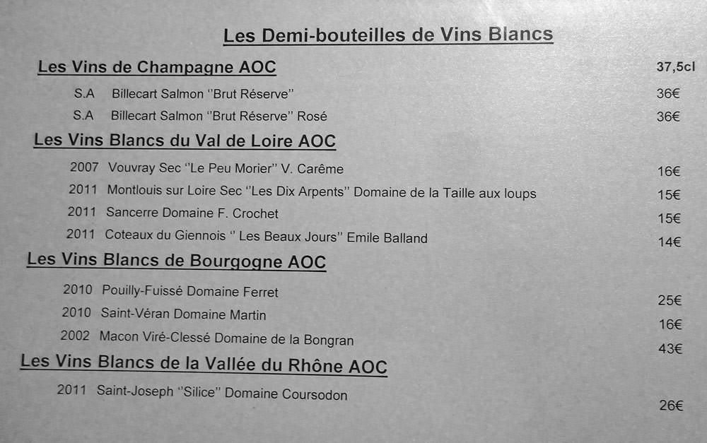 Demi-bouteilles de vin blanc