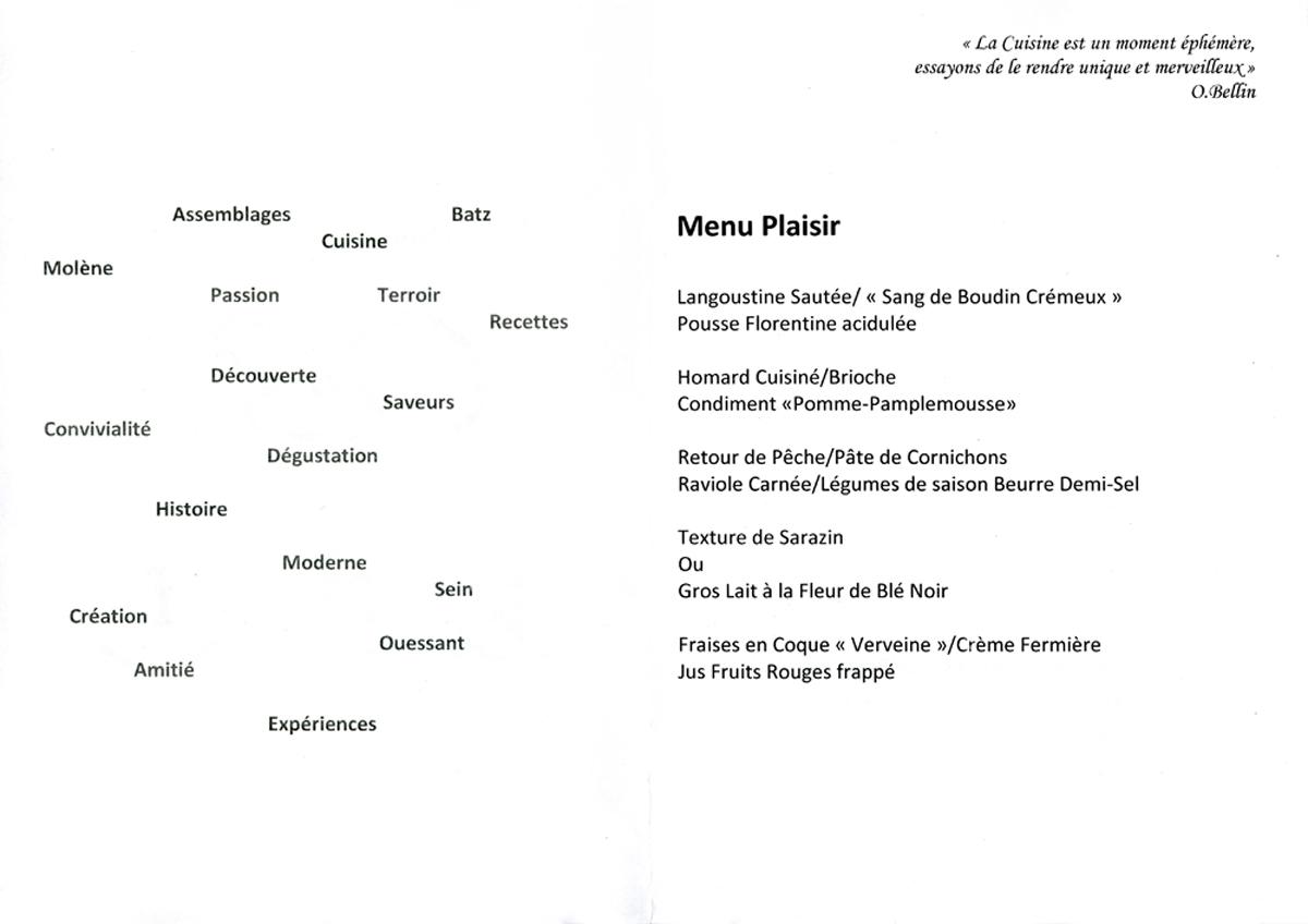 Le détail ou presque, de notre menu