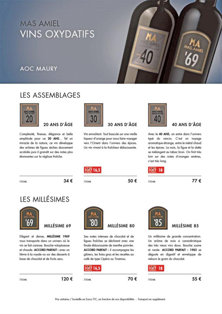 """Descriptions et tarifs des 6 Maury """"oxydatifs"""""""