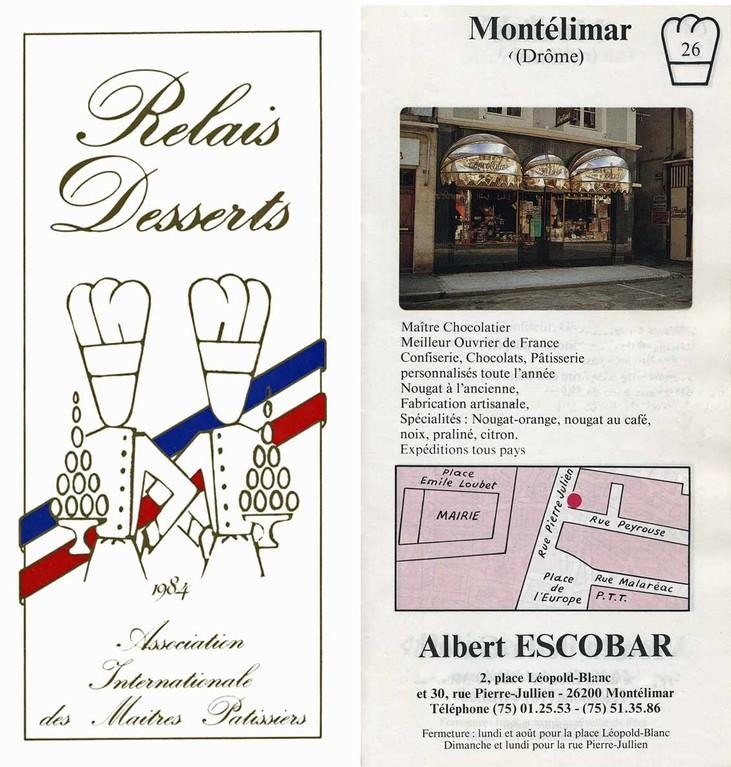 """Plaquette """"Relais Desserts"""" 1984"""