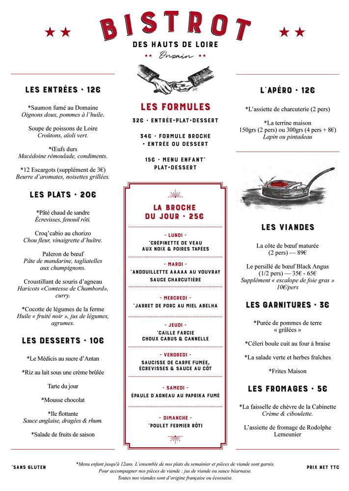 La carte et le menu à 32 € 00 toujours sur le site