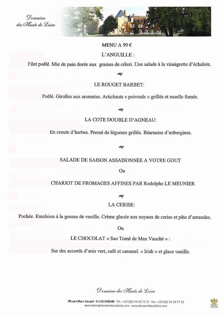 Le menu à 99 € 00